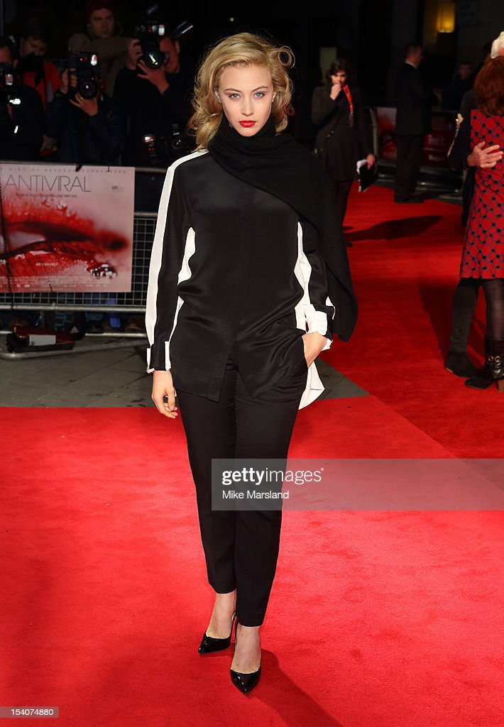 <a gi-track='captionPersonalityLinkClicked' href=/galleries/search?phrase=Sarah+Gadon&family=editorial&specificpeople=6606524 ng-click='$event.stopPropagation()'>Sarah Gadon</a> attends the premiere of 'Antiviral' during the 56th BFI London Film Festival at Odeon West End on October 13, 2012 in London, England.