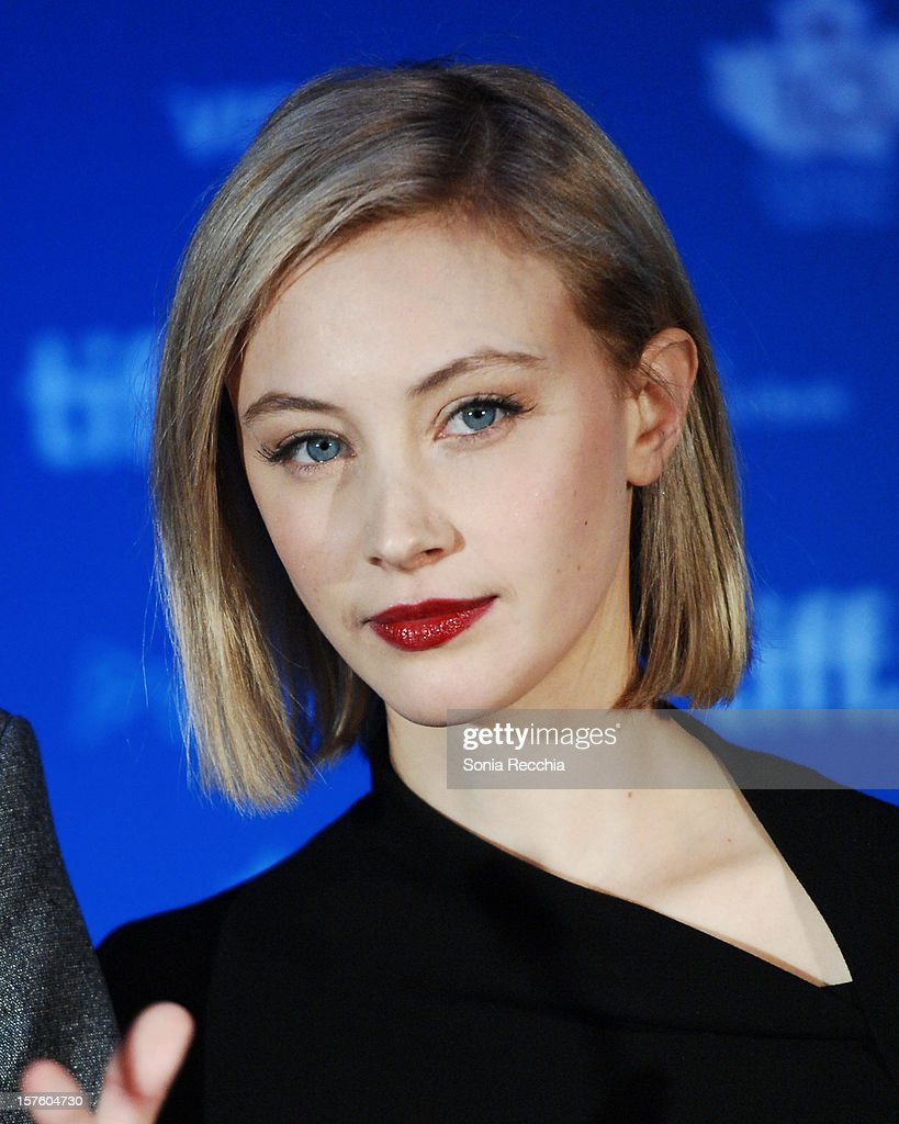 <a gi-track='captionPersonalityLinkClicked' href=/galleries/search?phrase=Sarah+Gadon&family=editorial&specificpeople=6606524 ng-click='$event.stopPropagation()'>Sarah Gadon</a> hosts Canada's Top Ten Announcement/Press Conference at TIFF Bell Lightbox on December 4, 2012 in Toronto, Canada.