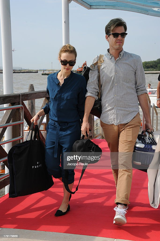 <a gi-track='captionPersonalityLinkClicked' href=/galleries/search?phrase=Sarah+Gadon&family=editorial&specificpeople=6606524 ng-click='$event.stopPropagation()'>Sarah Gadon</a> is seen leaving the Venice Airport during The 70th Venice International Film Festival on September 1, 2013 in Venice, Italy.