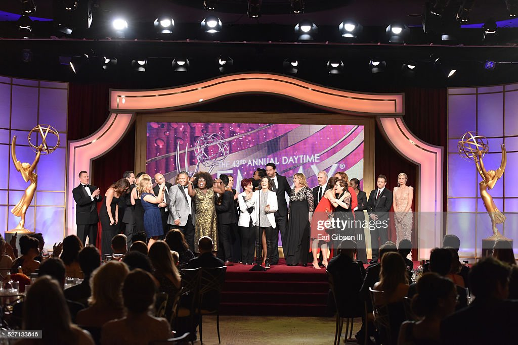 Sarah Gilbert speaks onstage with the cast and crew to accept the Emmy for Outstanding Talk Show/Entertainment at the 43rd Annual Daytime Emmy Awards at the Westin Bonaventure Hotel on May 1, 2016 in Los Angeles, California.