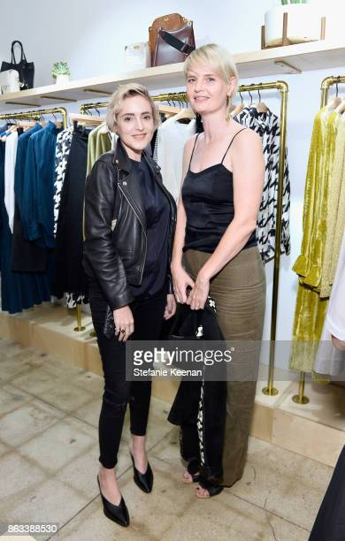 Sarah Godshaw and guest at Creatures of Comfort Celebrates Silverlake Opening hosted by Jade Lai Jenny Slate and Busy Philipps on October 19 2017 in...