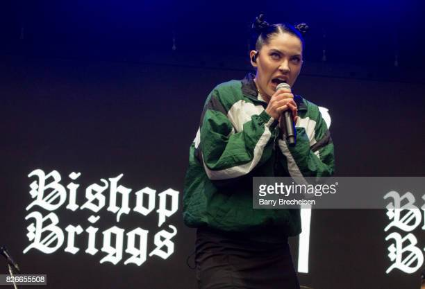 Sarah Grace McLaughlin aka Bishop Briggs performs during the 2017 Lollapalooza Day One at Grant Park on August 4 2017 in Chicago Illinois