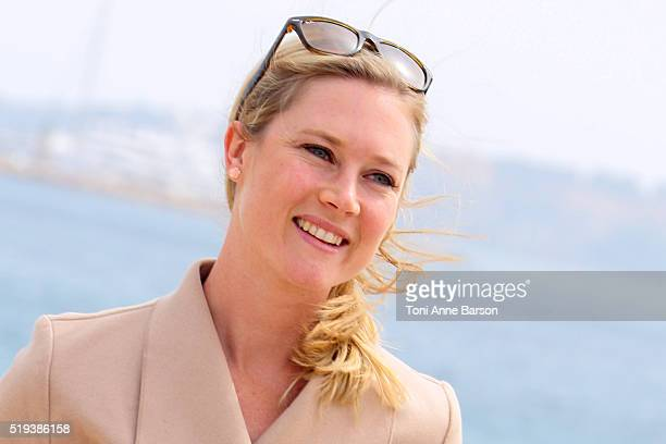 Sarah Graham attends Photocall during MIPTV 2016 on April 5 2016 in Cannes France