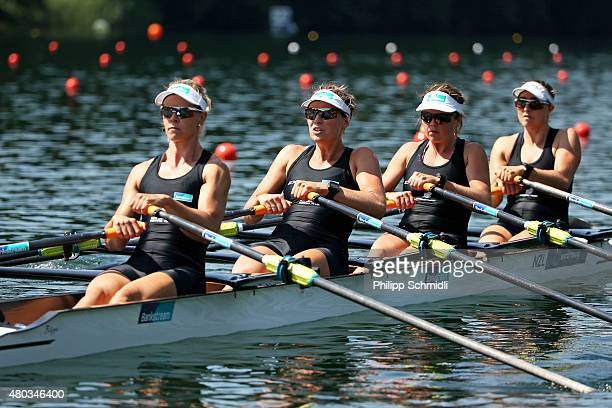 Sarah Gray Georgia Perry Lucy Spoors and ErinMonique O'Brien of New Zealand compete in the Women's Quadruple Sculls Preliminary Race during Day 2 of...