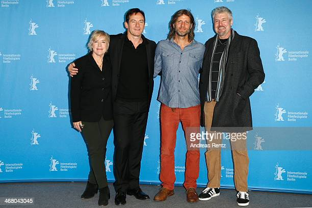 Sarah Green Jason Isaacs Saar Klein and Joseph Conway attend 'Things People Do' photocall during 64th Berlinale International Film Festival at Grand...