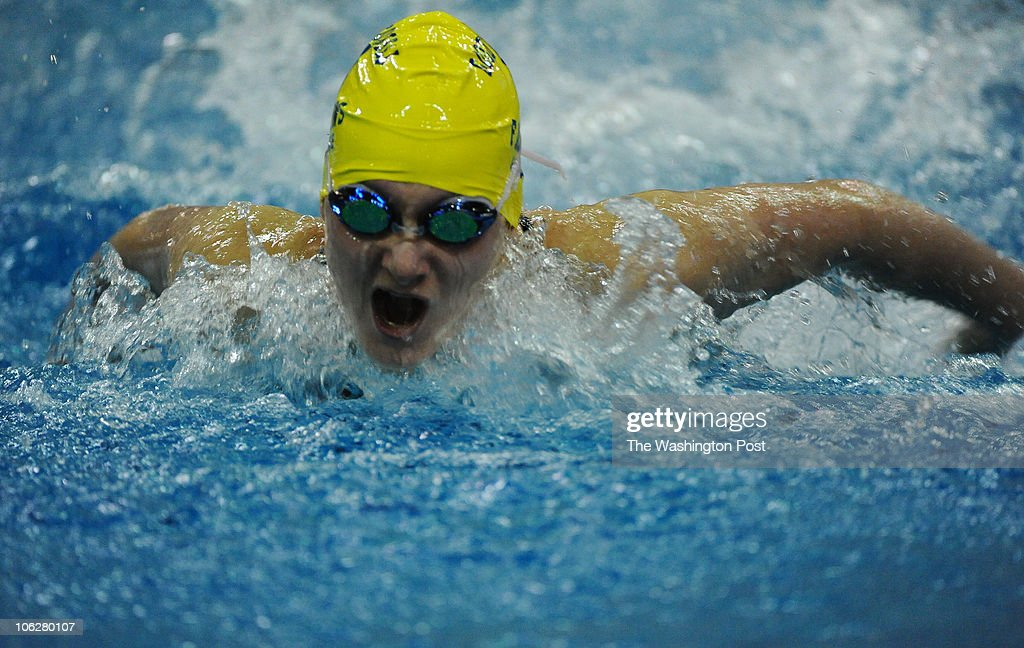 Sarah Haas of Good Counsel churns up the water doing the butterfly in the Girls 200 Yard IM on February 27, 2010 in Boyds, Md. on February 27, 2010 in Boyds, Md. (Photo by Jonathan Newton/The Washington Post via Getty Images}
