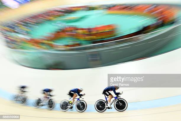 Sarah Hammer Kelly Catlin Chloe Dygert and Jennifer Valente of the United States compete in the Women's Team Pursuit Track Cycling Qualifying on Day...