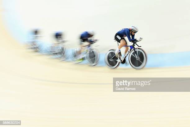Sarah Hammer Kelly Catlin Chloe Dygert and Jennifer Valente of the United States compete in the Women's Team Pursuit Track Cycling Qualifying> on...