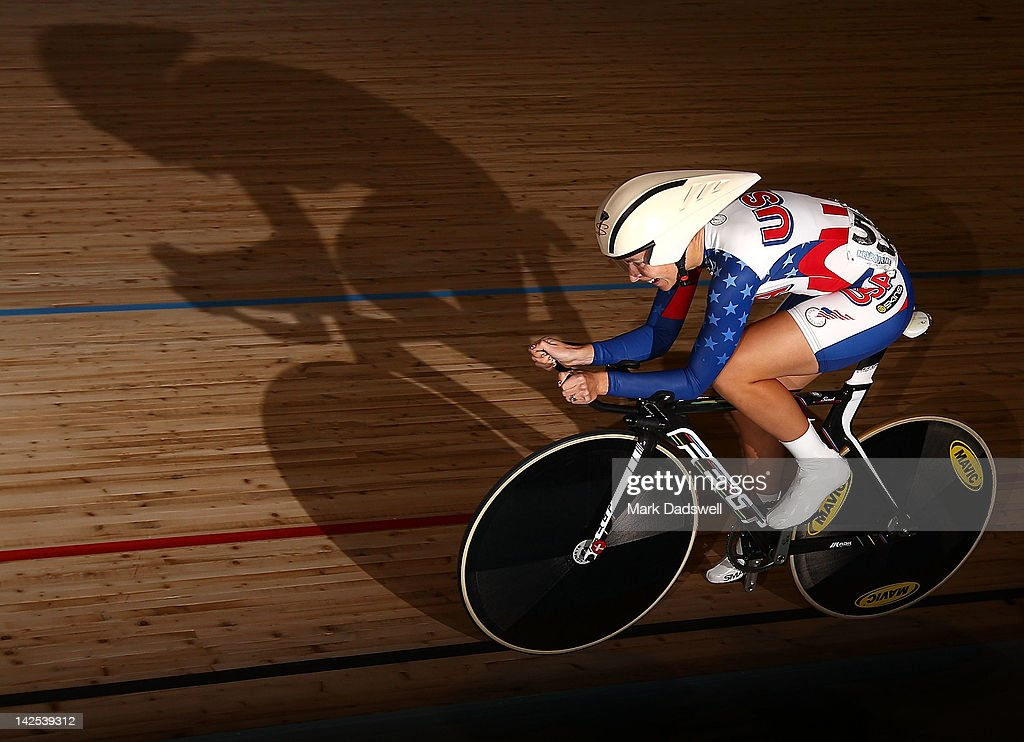 <a gi-track='captionPersonalityLinkClicked' href=/galleries/search?phrase=Sarah+Hammer&family=editorial&specificpeople=688673 ng-click='$event.stopPropagation()'>Sarah Hammer</a> of the USA competes in the Women's Omnium Individual Pursuit during day four of the 2012 UCI Track Cycling World Championships at Hisense Arena on April 7, 2012 in Melbourne, Australia.