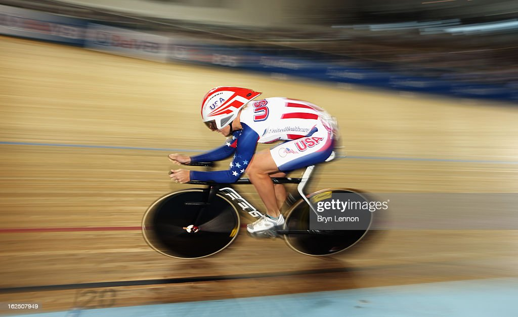 Sarah Hammer of the USA in action on her way to winning the Women's Omnium during day five of the 2013 UCI Track World Championships at the Minsk Arena on February 24, 2013 in Minsk, Belarus.