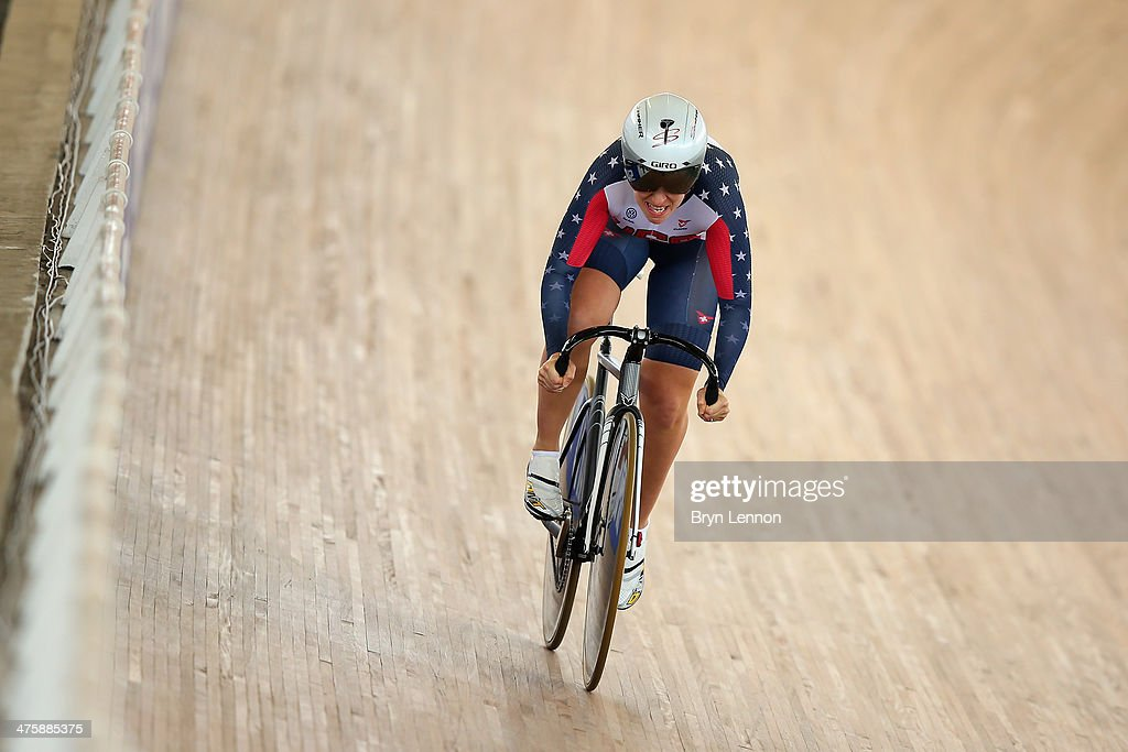 <a gi-track='captionPersonalityLinkClicked' href=/galleries/search?phrase=Sarah+Hammer&family=editorial&specificpeople=688673 ng-click='$event.stopPropagation()'>Sarah Hammer</a> of the USA rides in Flying Lap round of the Omnium during day four of the 2014 UCI Track Cycling World Championships at the Velodromo Alcides Nieto Patino on March 1, 2014 in Cali, Colombia.
