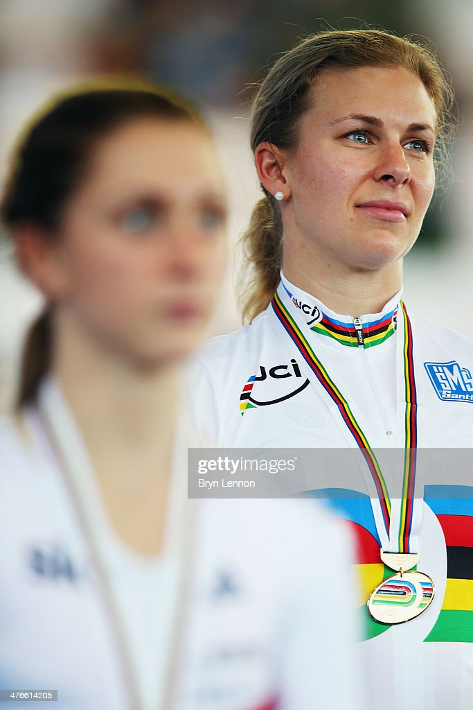 <a gi-track='captionPersonalityLinkClicked' href=/galleries/search?phrase=Sarah+Hammer&family=editorial&specificpeople=688673 ng-click='$event.stopPropagation()'>Sarah Hammer</a> of the USA stands on the podium after winning the Women's Ominium during day five of the 2014 UCI Track Cycling World Championships at the Velodromo Alcides Nieto Patino on March 2, 2014 in Cali, Colombia.