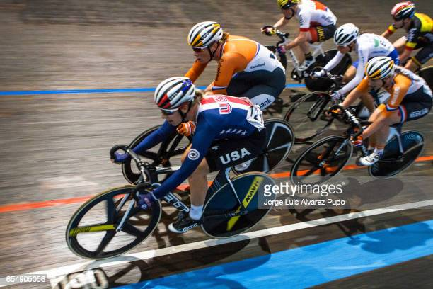 Sarah Hammer of US and Kirsten Wild of Netherlands compete in the Women's Points race of the Omnium on day two of the Belgian International Track...