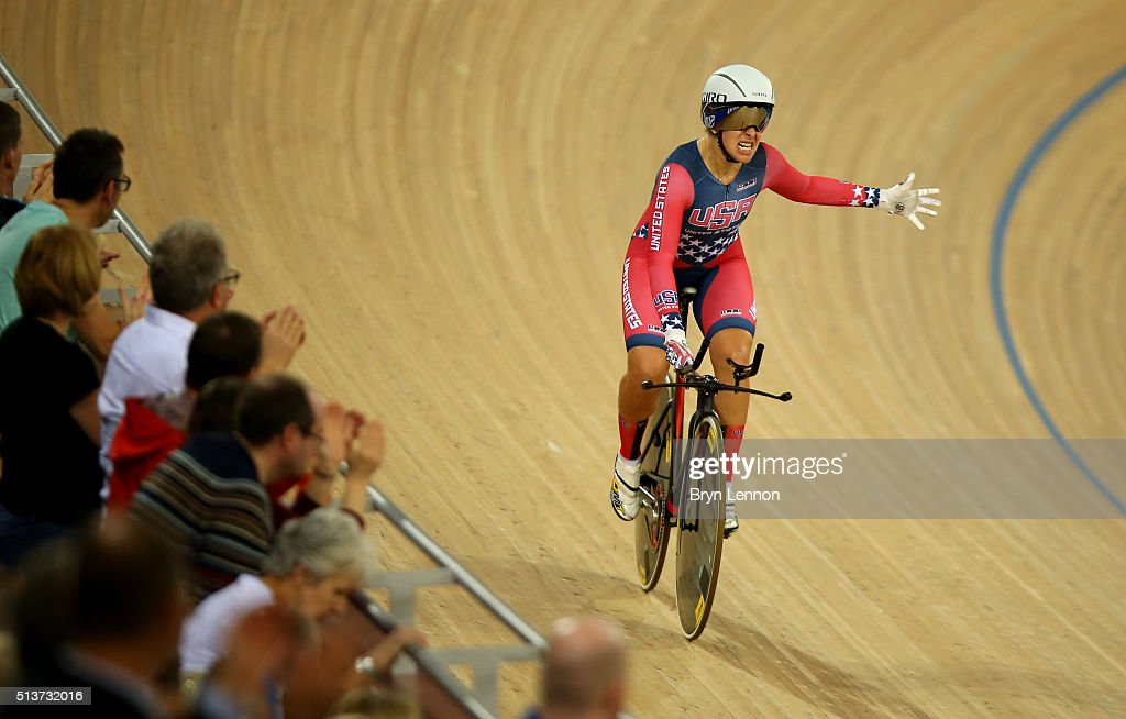 <a gi-track='captionPersonalityLinkClicked' href=/galleries/search?phrase=Sarah+Hammer+-+Cyclist&family=editorial&specificpeople=688673 ng-click='$event.stopPropagation()'>Sarah Hammer</a> of USA celebrates after winning the Women's Team Pursuit final during Day Three of the UCI Track Cycling World Championships at Lee Valley Velopark Velodrome on March 4, 2016 in London, England.
