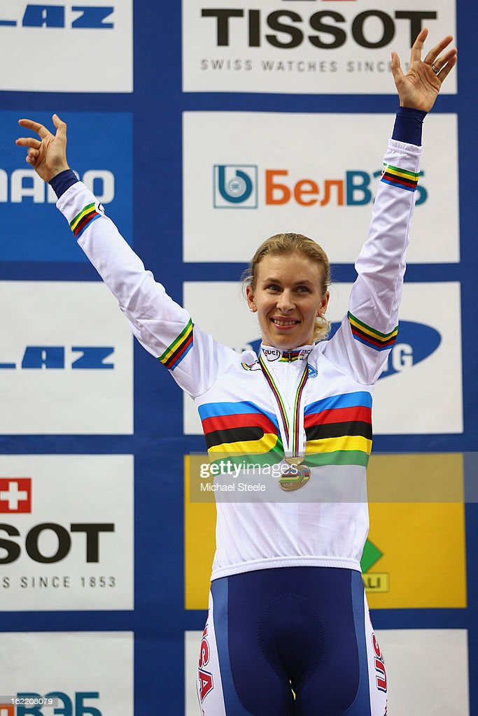 Sarah Hammer of USA celebrates winning gold in the women's individual pursuit during day one of the UCI Track World Championships at Minsk Arena on February 20, 2013 in Minsk, Belarus.