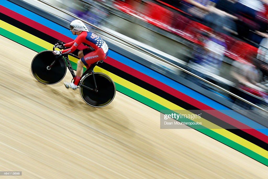 Sarah Hammer of USA cycling team competes in the Womens Omnium Flying Start race during day 5 of the UCI Track Cycling World Championships held at National Velodrome on February 22, 2015 in Paris, France.