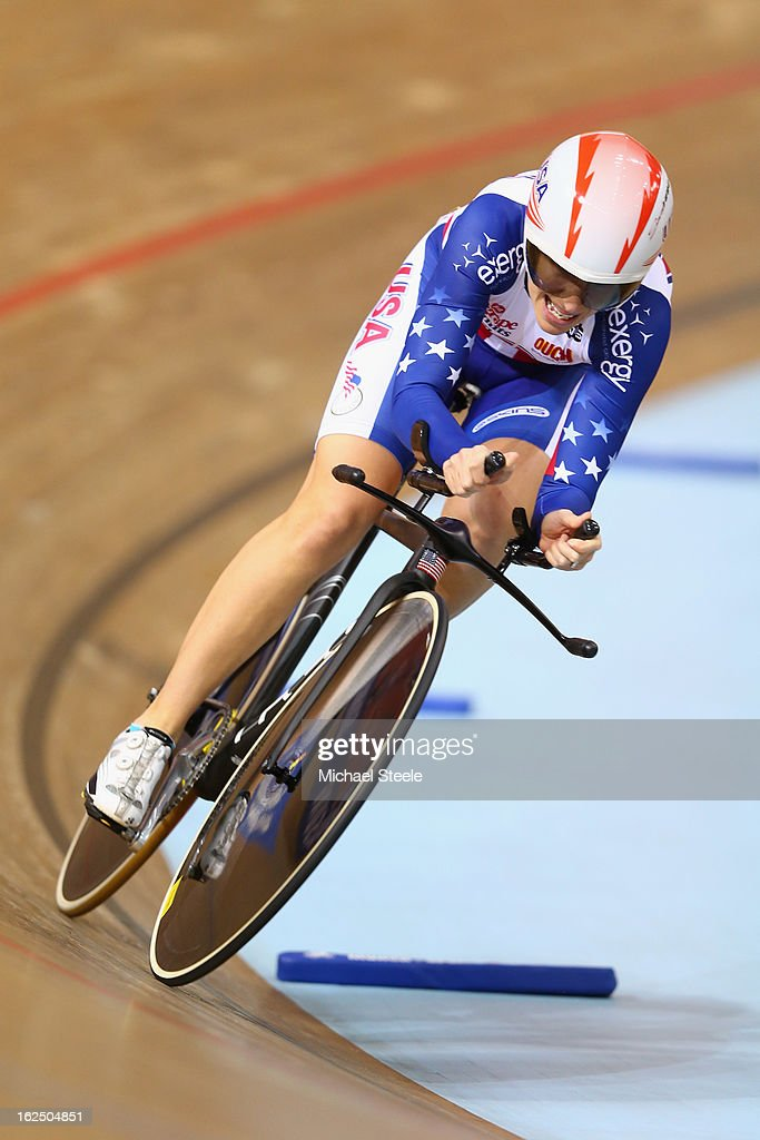 <a gi-track='captionPersonalityLinkClicked' href=/galleries/search?phrase=Sarah+Hammer+-+Cyclist&family=editorial&specificpeople=688673 ng-click='$event.stopPropagation()'>Sarah Hammer</a> of USA on her way to claiming gold in the time trial round of the women's omnium on day five of the 2013 UCI Track World Championships at the Minsk Arena on February 24, 2013 in Minsk, Belarus.