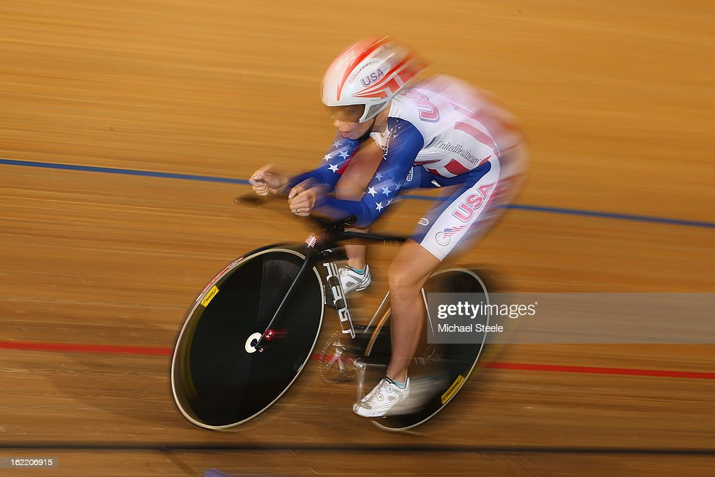 <a gi-track='captionPersonalityLinkClicked' href=/galleries/search?phrase=Sarah+Hammer+-+Cyclist&family=editorial&specificpeople=688673 ng-click='$event.stopPropagation()'>Sarah Hammer</a> of USA on her way to gold in the women's individual pursuit during day one of the UCI Track World Championships at Minsk Arena on February 20, 2013 in Minsk, Belarus.
