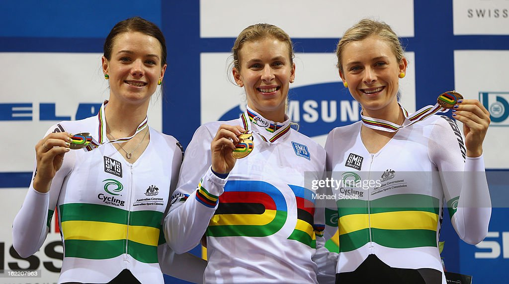 Sarah Hammer (C) of USA winner of gold alongside Amy Cure (L) winner of silver and Annette Edmondson (R) of Australia winner of bronze in the women's individual pursuit during day one of the UCI Track World Championships at Minsk Arena on February 20, 2013 in Minsk, Belarus.