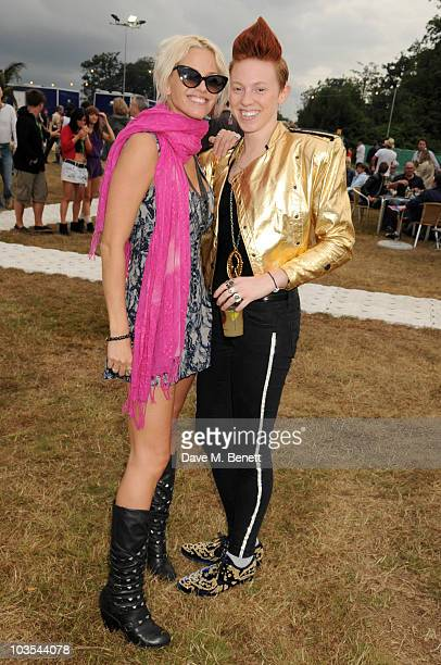 Sarah Harding and La Roux pose for a photograph in the official VIP backstage area hosted by Mahiki during Day Two of V Festival 2010 on August 22...