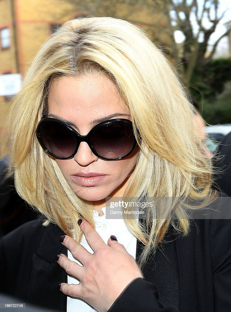 Sarah Harding arrives at Highbury Corner Magistrates Court to face charges of using her mobile phone whilst driving on April 16, 2013 in London, England.