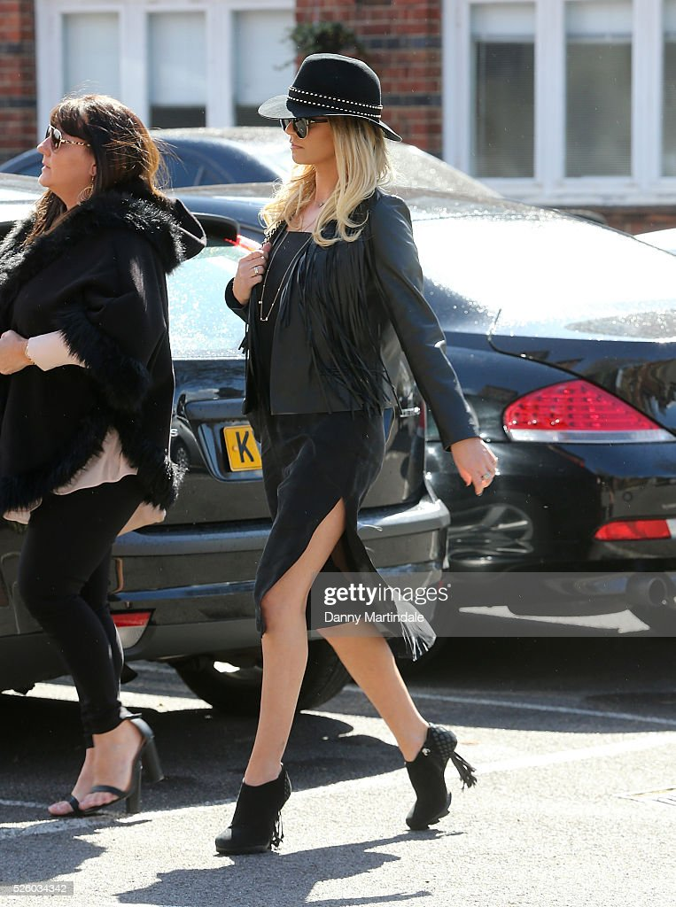 Sarah Harding attends the funeral of entertainer producer and reality television star David Gest at Golders Green Crematorium on April 29 2016 in...