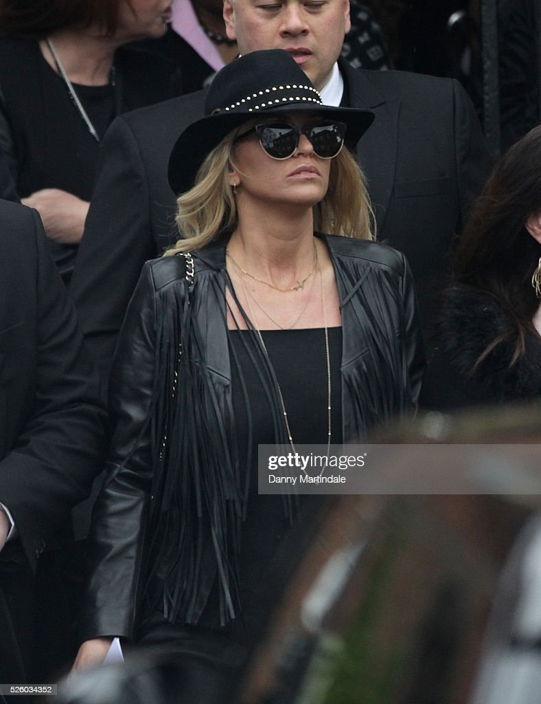 Sarah Harding attends the funeral of entertainer, producer and reality television star David Gest at Golders Green Crematorium on April 29, 2016 in London, England.