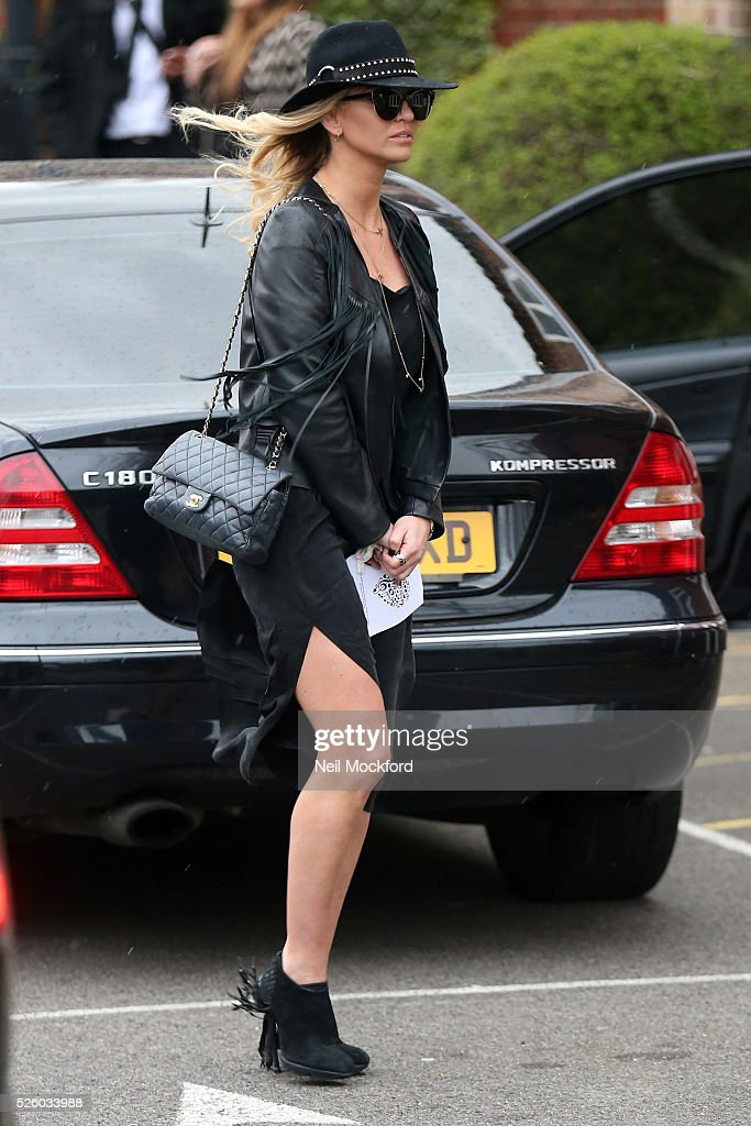Sarah Harding departs the funeral of David Gest at Golders Green Crematorium on April 29 2016 in London England