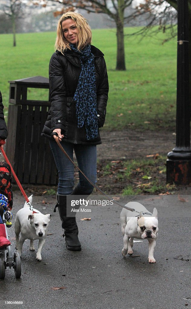 Sarah Harding is pictured walking her dogs in a North London park on December 21, 2011 in London, England.