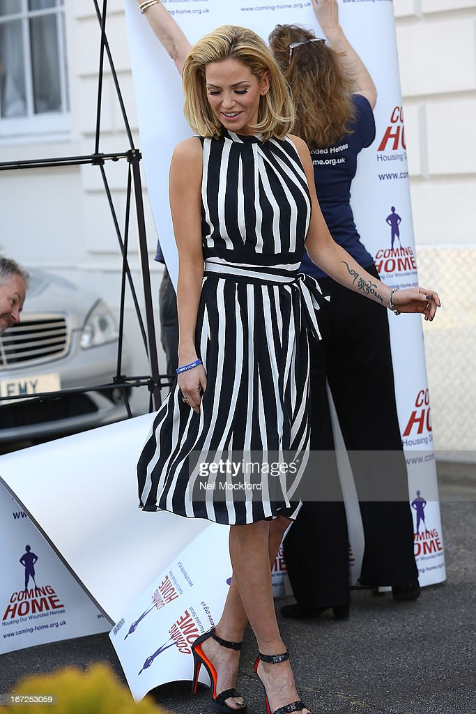 Sarah Harding is unveiled as the new ambassador for the armed forces charity 'Coming Home' at Royal College Of Defence Studies on April 23, 2013 in London, England.