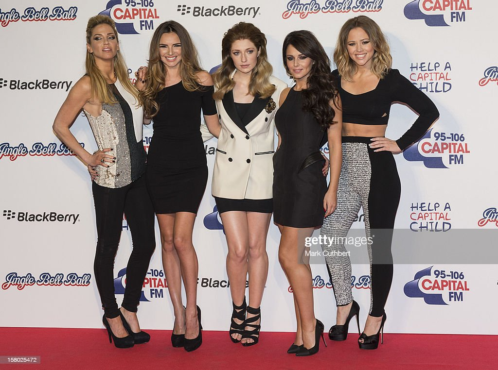 Sarah Harding, Nadine Coyle, Nicola Roberts, Cheryl Cole and Kimberley Walsh of Girls Aloud attend the Capital FM Jingle Bell Ball at 02 Arena on December 9, 2012 in London, England.