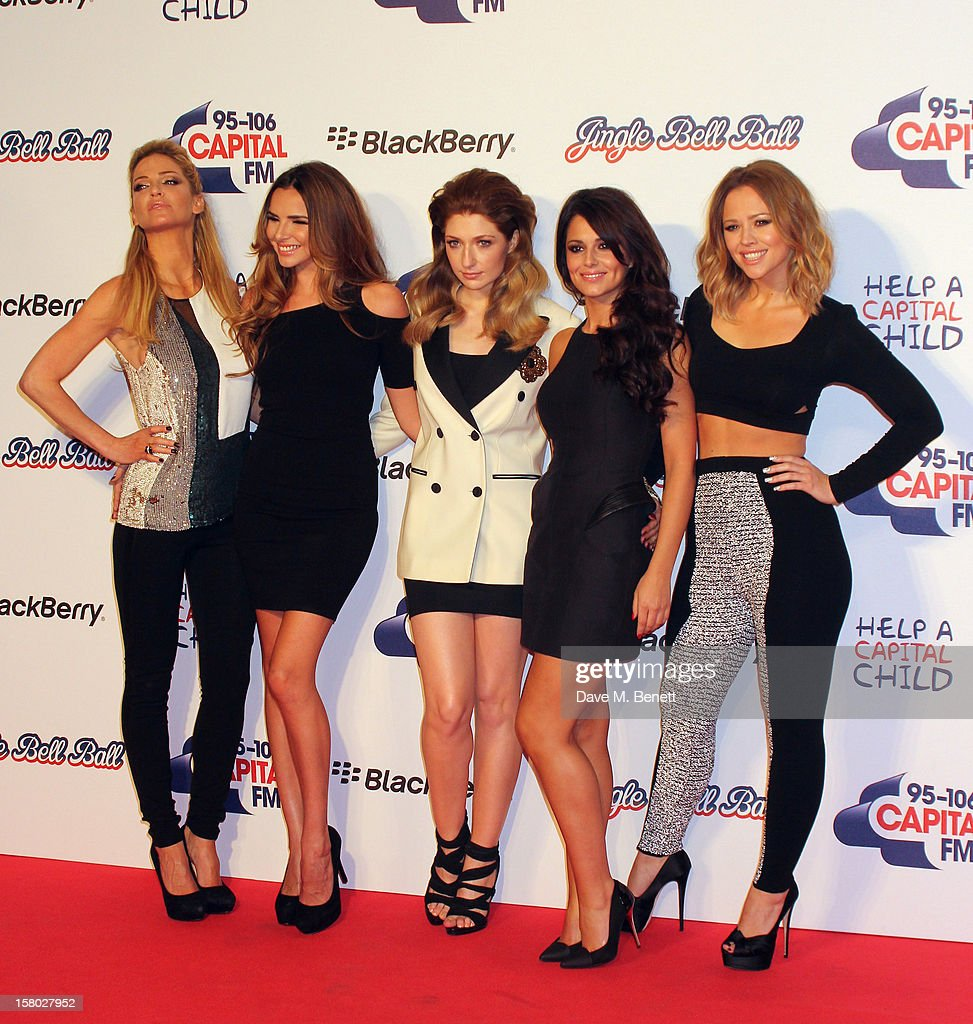 Sarah Harding, Nadine Coyle, Nicola Roberts, Cheryl Cole and Kimberly Walsh of Girls Aloud attends the Capital FM Jingle Bell Ball at 02 Arena on December 9, 2012 in London, England.