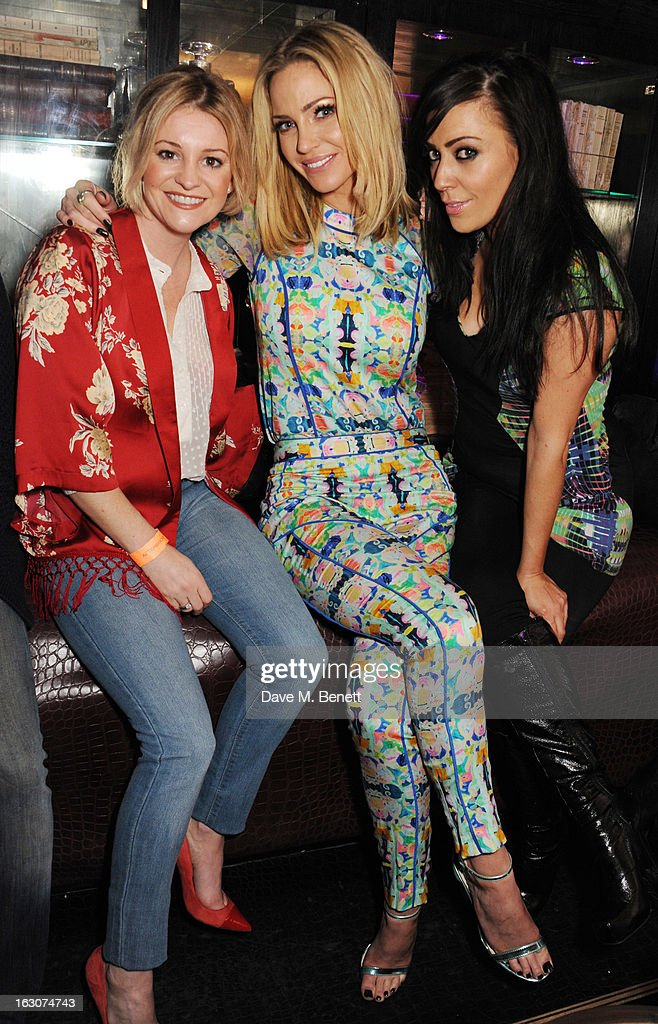 <a gi-track='captionPersonalityLinkClicked' href=/galleries/search?phrase=Sarah+Harding&family=editorial&specificpeople=202916 ng-click='$event.stopPropagation()'>Sarah Harding</a> (C) of Girls Aloud attend their London Ten - The Hits Tour after party at Whisky Mist Club on March 02, 2013 in London, England.