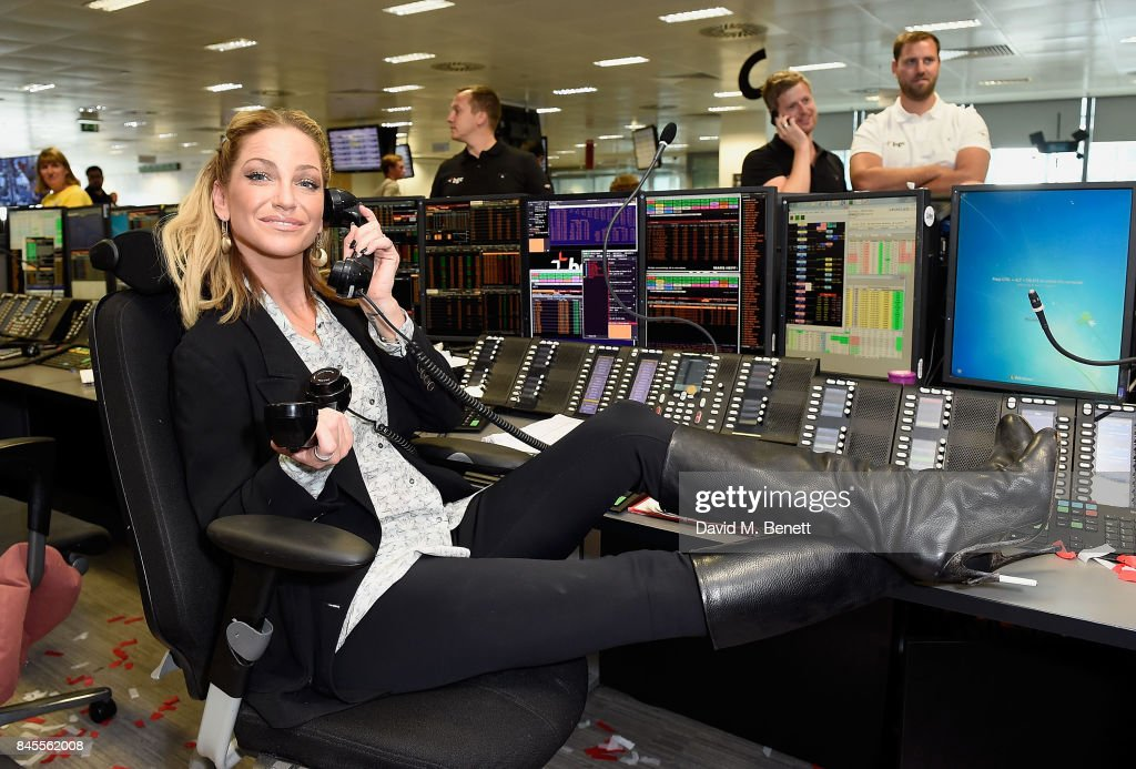 Sarah Harding, representing Brainwave makes a trade at the BGC Charity Day on September 11, 2017 in Canary Wharf, London, United Kingdom.