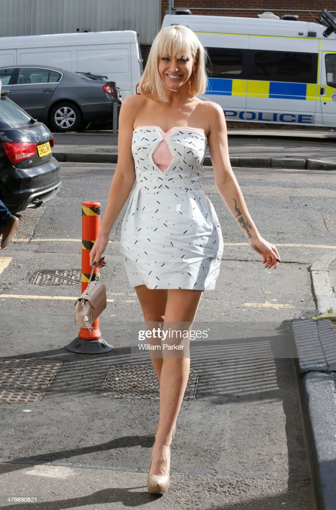 <a gi-track='captionPersonalityLinkClicked' href=/galleries/search?phrase=Sarah+Harding&family=editorial&specificpeople=202916 ng-click='$event.stopPropagation()'>Sarah Harding</a> seen arriving at a studio in North London after leaving ITV Studios on March 21, 2014 in London, England.