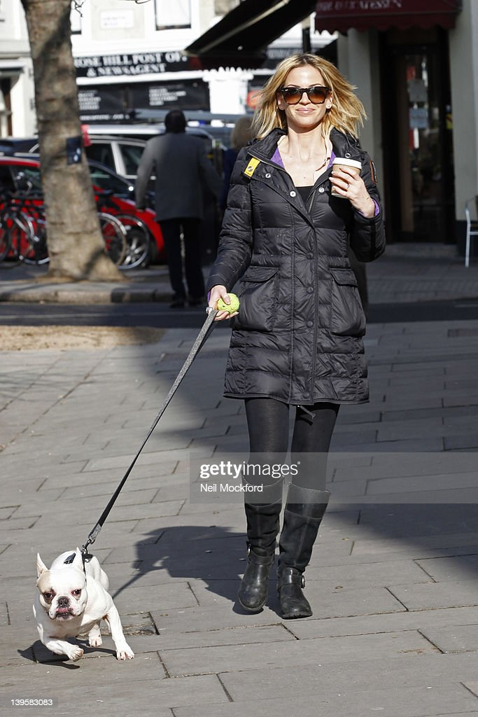 Sarah Harding seen walking her dog through Primrose Hill on February 23, 2012 in London, England.