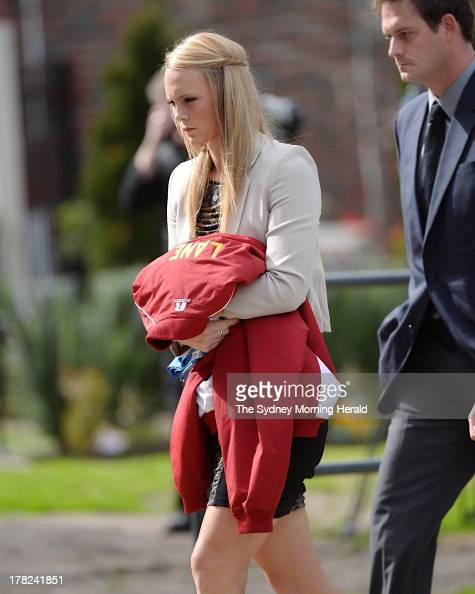 Sarah Harper the girlfriend of Chris Lane attends the funeral service of Chris Lane at Saint Thereses Parish Church on August 28 2013 in Melbourne...