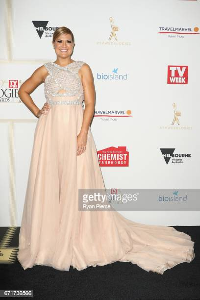 Sarah Harris arrives at the 59th Annual Logie Awards at Crown Palladium on April 23 2017 in Melbourne Australia