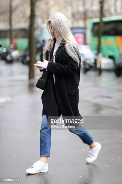 Sarah Harris is seen outside the Giambattista Valli show during Paris Fashion Week Womenswear Fall/Winter 2017/2018 on March 6 2017 in Paris France