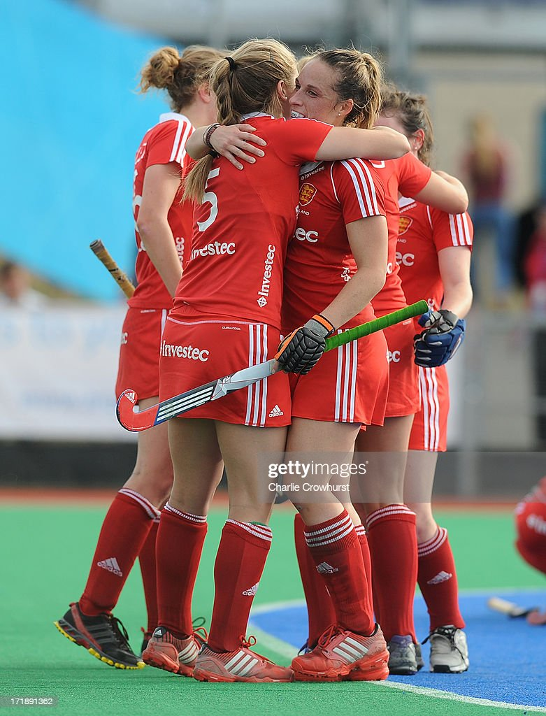 Sarah Haycroft and Susannah Townsend of England celebrate victory during the Investec Hockey World League - Semi Finals match between Argentina and England at The University of Westminster Sports Ground on June 29, 2013 in London, England.