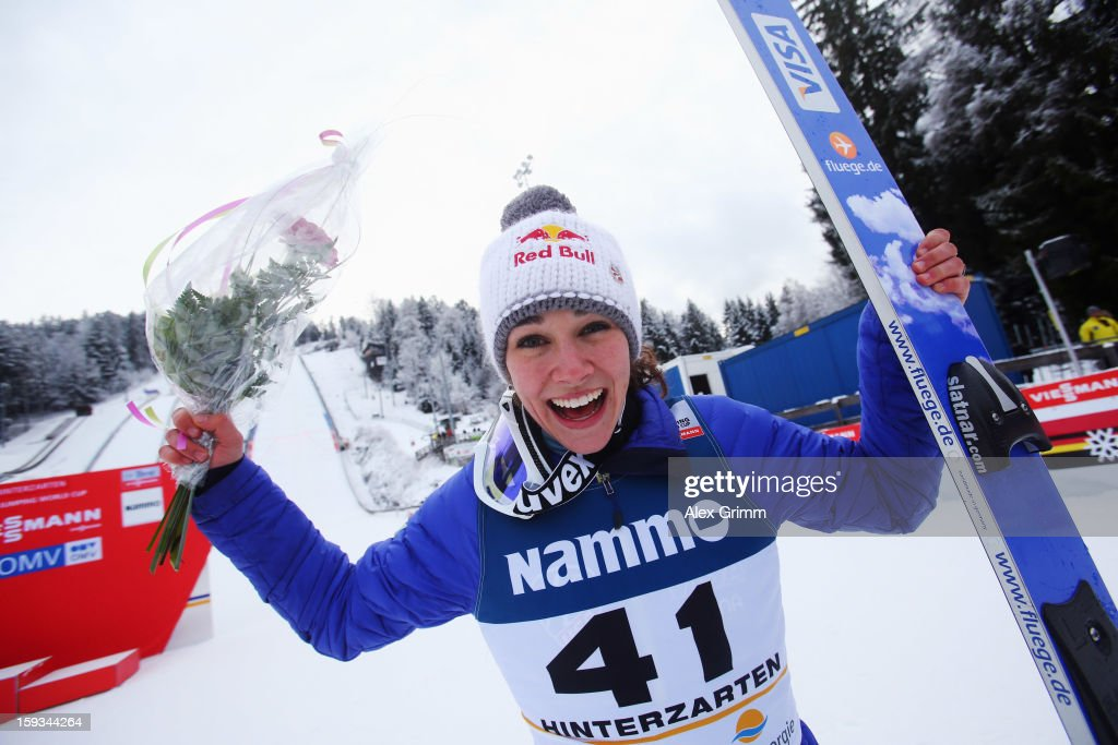 Sarah Hendrickson of the USA celebrates after winning the FIS Ski Jumping World Cup Women's HS108 on January 12, 2013 in Titisee-Neustadt, Germany.