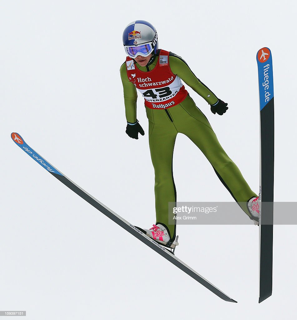 Sarah Hendrickson of the USA competes to finish second during the FIS Ski Jumping World Cup Women's HS108 on January 13, 2013 in Titisee-Neustadt, Germany.