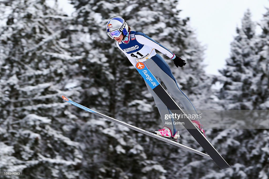 Sarah Hendrickson of the USA competes to win the FIS Ski Jumping World Cup Women's HS108 on January 12, 2013 in Titisee-Neustadt, Germany.