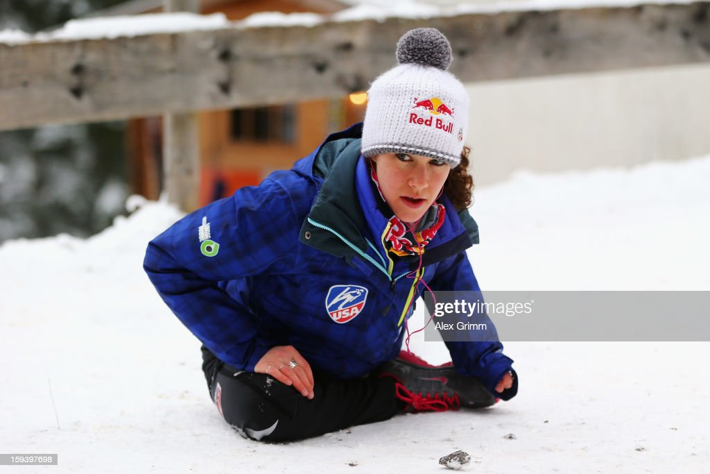 Sarah Hendrickson of the USA prepares for the FIS Ski Jumping World Cup Women's HS108 on January 13, 2013 in Titisee-Neustadt, Germany.