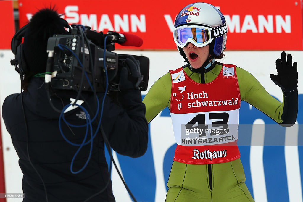 Sarah Hendrickson of the USA reacts after finishing second during the FIS Ski Jumping World Cup Women's HS108 on January 13, 2013 in Titisee-Neustadt, Germany.