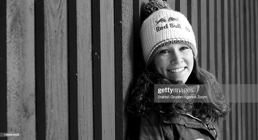 Image has been converted to black and white.) Sarah Hendrickson of the USA Women's Ski Jumping Team poses on December 15, 2012 in Ramsau, Austria.