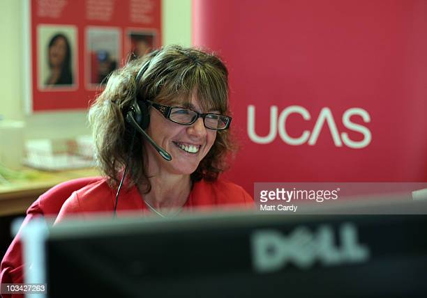 Sarah Hillier an employee in the UCAS clearing house call centre smiles as she answers a student's enquiry as she prepares to assist Alevel students...
