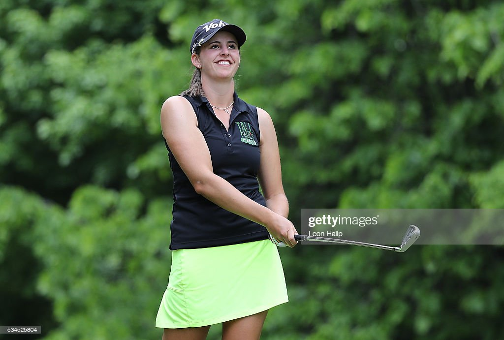 Sarah Hoffman tees off on the seventh hole during the first round of the LPGA Volvik Championship on May 26, 2016 at Travis Pointe Country Club Ann Arbor, Michigan.