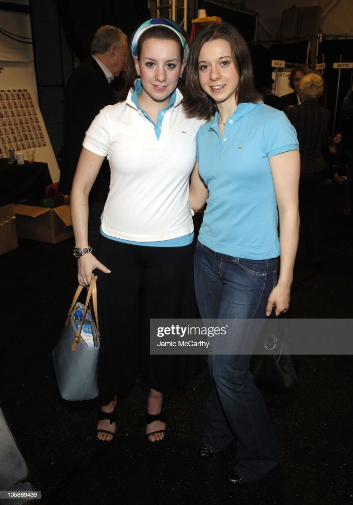 Sarah Hughes and Emily Hughes during Olympus Fashion Week Fall 2006 Lacoste Front Row and Backstage at The Tent Bryant Park in New York City New York...