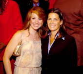 Sarah Hughes and Nancy Kerrigan during ESPN's 25th Anniversary Celebration Inside at ESPN Zone Times Square in New York City New York United States